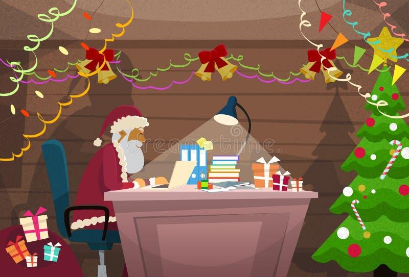 Santa Claus Using Laptop Sitting Desk inomhus hem vektor illustrationer