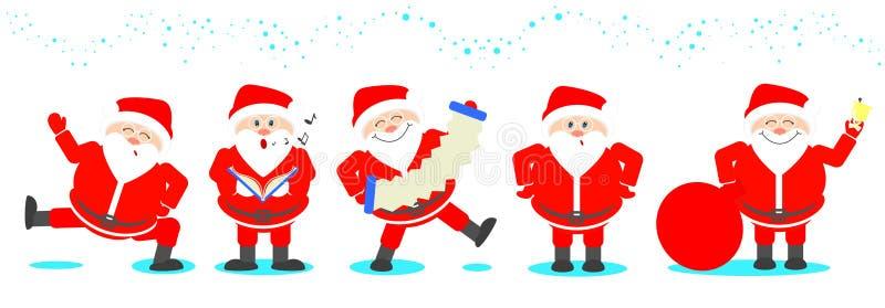 Santa Claus vastgestelde Santa Claus in divers stelt reeks van Kerstmis royalty-vrije illustratie