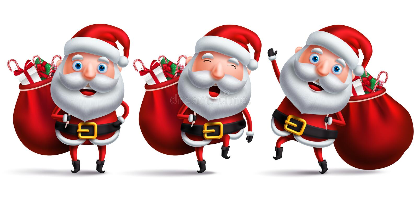 Santa claus vector character set carrying full sack of christmas gifts stock illustration