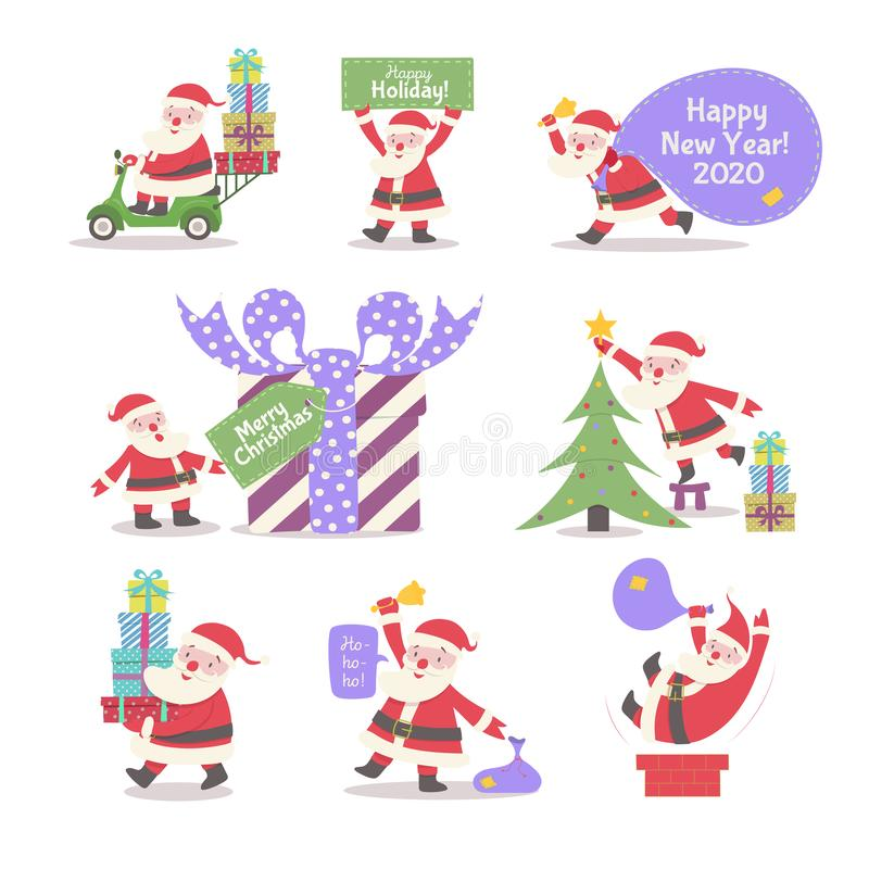 Santa Claus vector collection cartoon style. With gifts, decoration christmas tree, driving on scooter for banner, tag, web site, calendar, holiday cover, flyer vector illustration