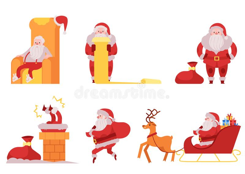 Santa Claus vector illustration set - various scenes with Christmas and New Year symbol in red costume giving gifts. royalty free illustration