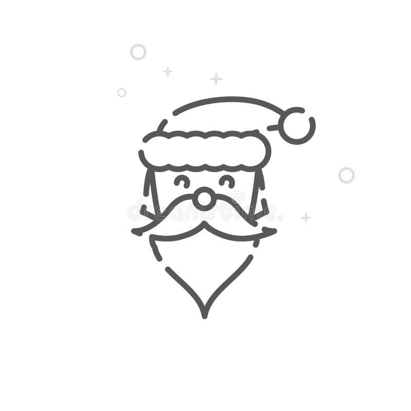 Santa Claus Vector Line Icon, symbole, pictogramme, signe Fond géométrique abstrait clair Course Editable illustration libre de droits