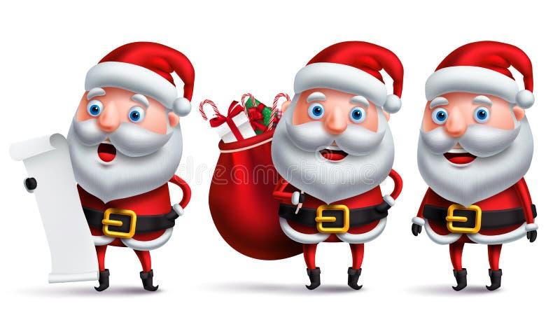 Santa Claus vektortecken - fastställd hållande önskelista och bärande påse vektor illustrationer