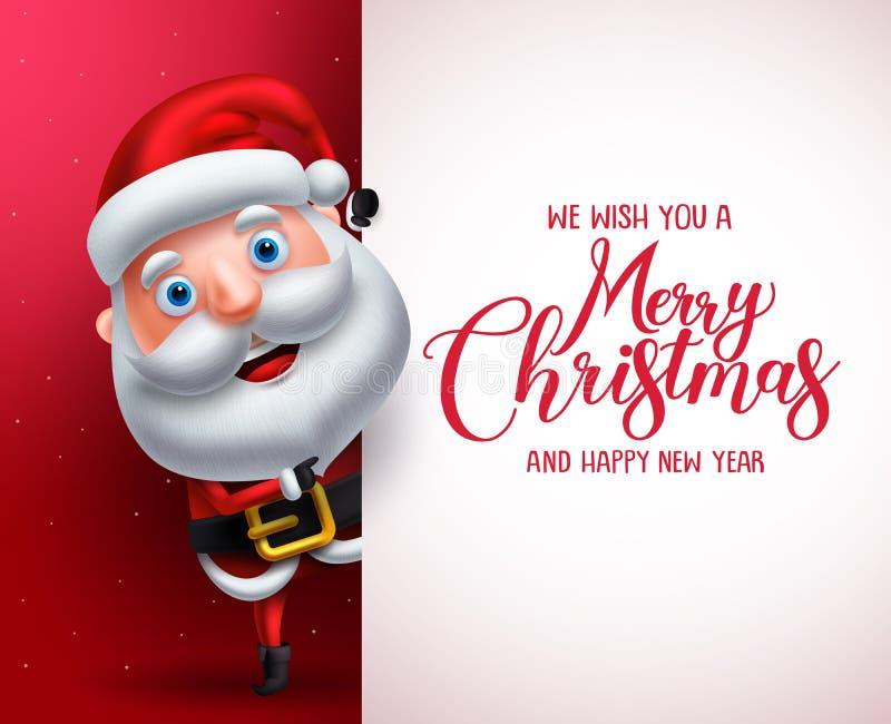 Santa Claus vektortecken som visar det vita brädet med att hälsa för glad jul stock illustrationer