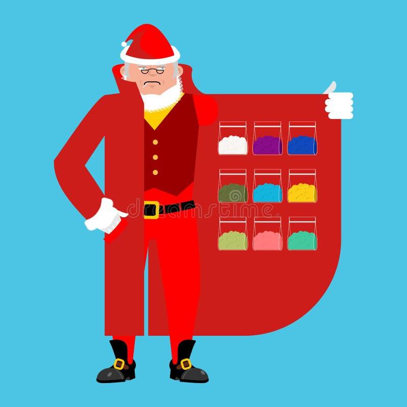 Santa Claus vende las drogas Cocaína y marijuana stock de ilustración