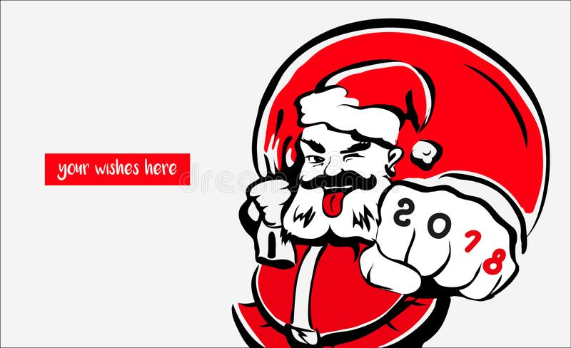 Santa Claus, vetor do cartão 2018 ilustração royalty free