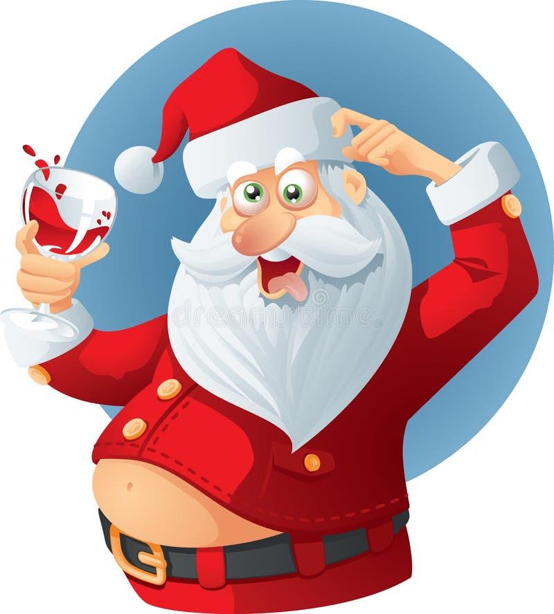 Santa Claus Vetora Cartoon bêbada ilustração royalty free