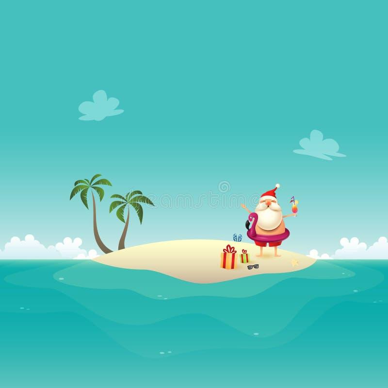 Santa Claus viert de zomer bij zandig eiland - Kerstmis op Juni-achtergrond royalty-vrije illustratie