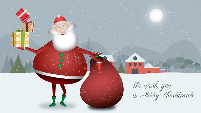 Santa Claus vilar, medan tycka om detta jullandskap med den röda säcken av gåvor i hans hand kommer med mycket något för dig stock illustrationer