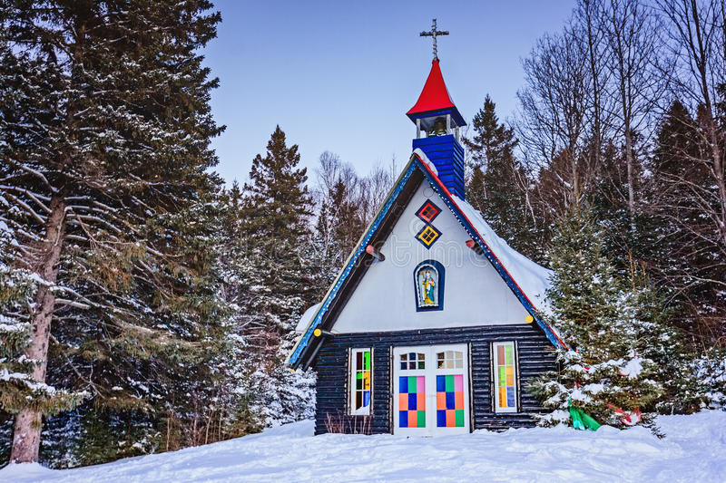 Santa Claus` Village, Val-David, Quebec, Canada - January 1, 2017: Chapel in Santa Claus village in winter. Nice place to spend winter holidays active stock images