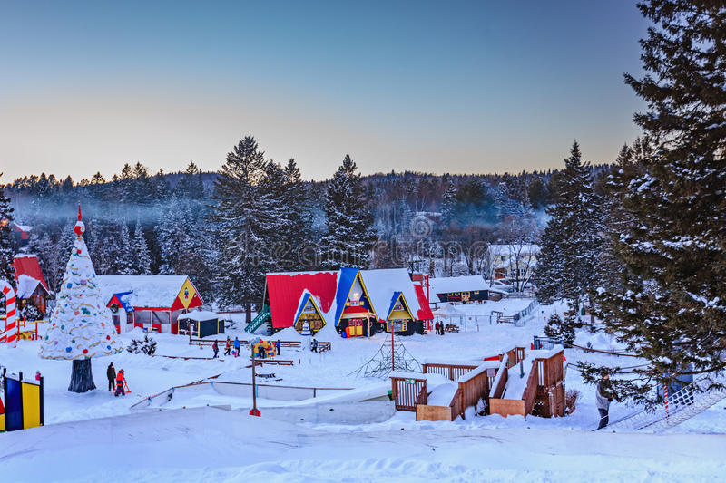 Santa Claus` Village, Val-David, Quebec, Canada - January 1, 2017. Santa Claus village in winter view. Nice place to spend winter holidays active stock images