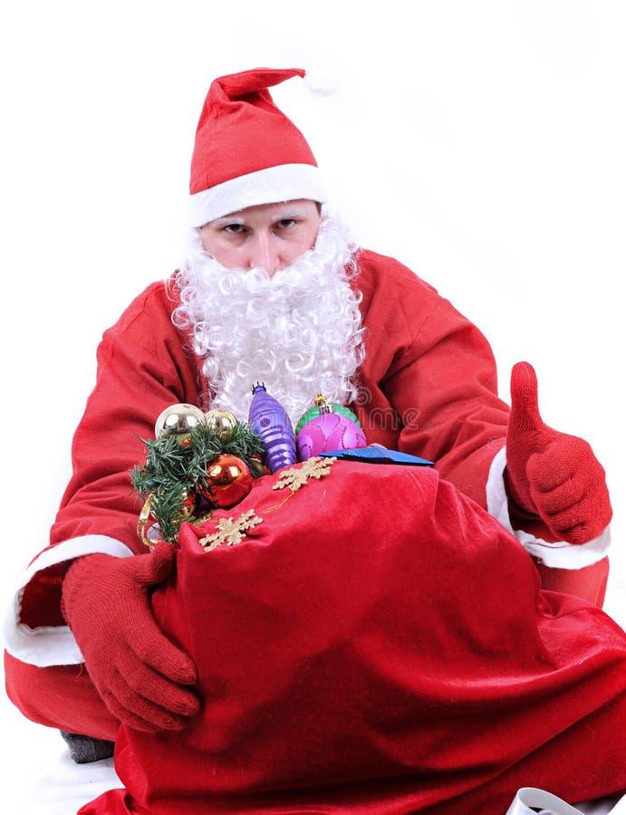 Santa Claus visar det ok tecknet fotografering för bildbyråer