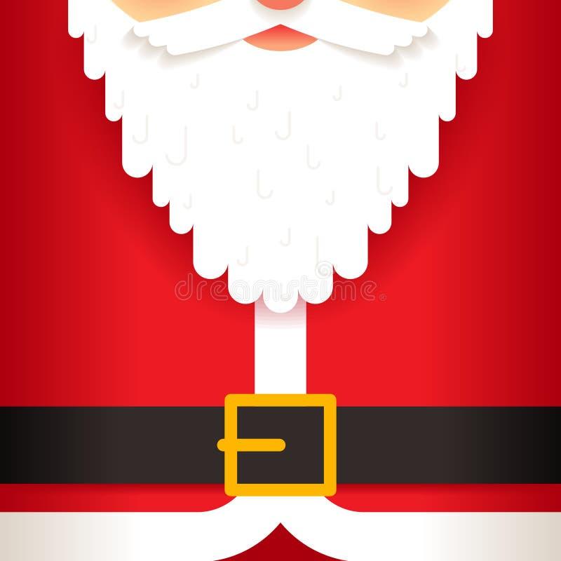 Santa Claus-vlakke het malplaatje van de de groetkaart van de baardriem vector illustratie