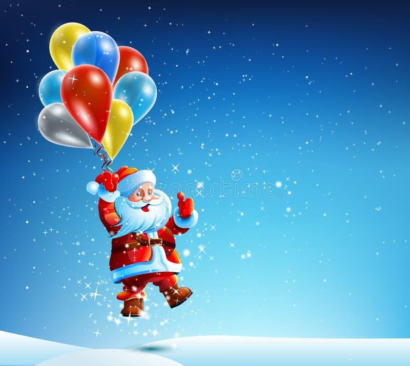 Santa Claus vola su un pallone royalty illustrazione gratis