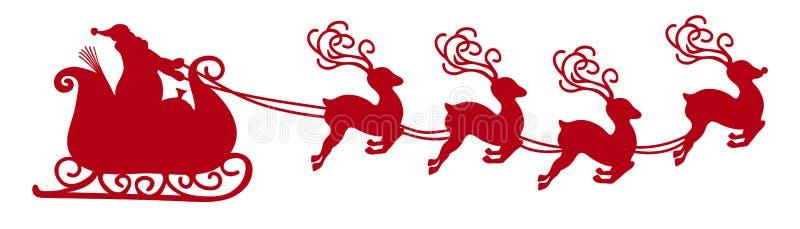 Santa Claus volante astratta con forma del nero dell'illustrazione di vettore della slitta della renna - siluetta royalty illustrazione gratis