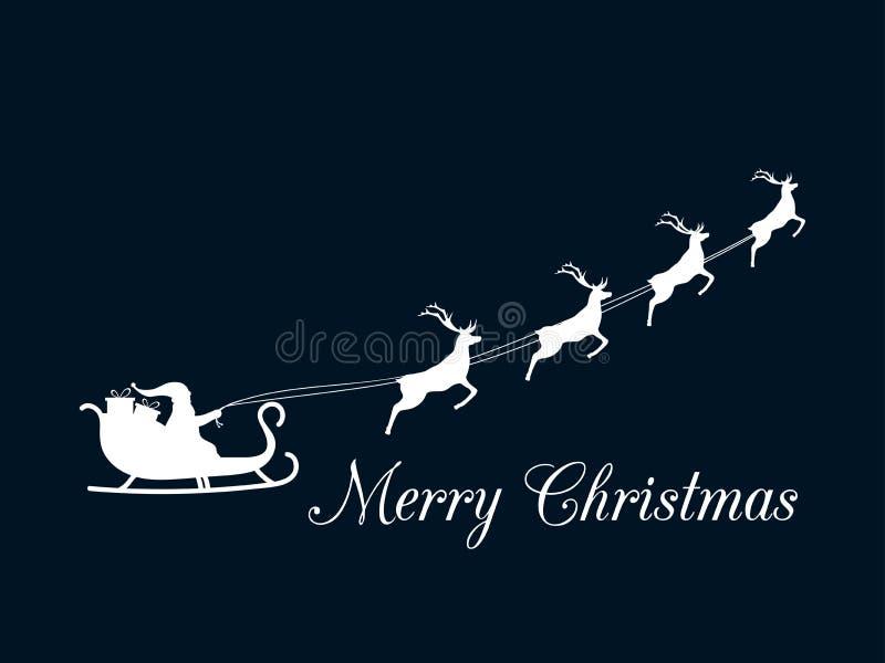 Santa Claus vole dans un traîneau avec le renne Joyeux Noël Vecteur illustration de vecteur