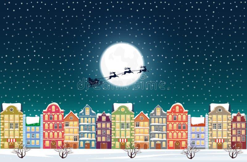 Santa Claus vuela sobre una ciudad vieja nevosa adornada de la ciudad cerca de la luna en la Nochebuena stock de ilustración