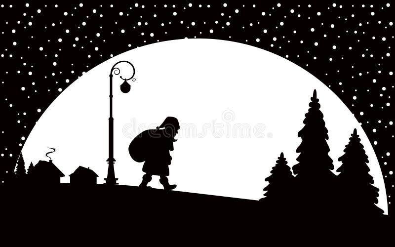 Download Santa Claus Walking At Night Stock Vector - Image: 21468266