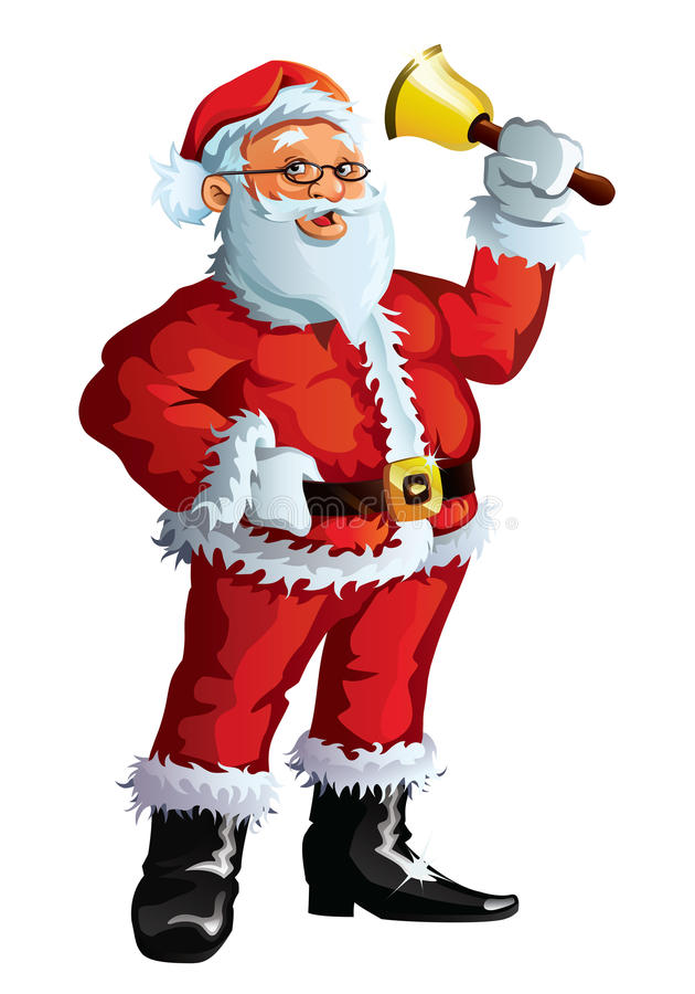 Santa claus waving a bell stock photography image