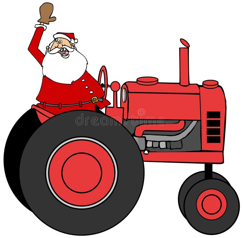 Santa Claus waving while driving a tractor stock illustration