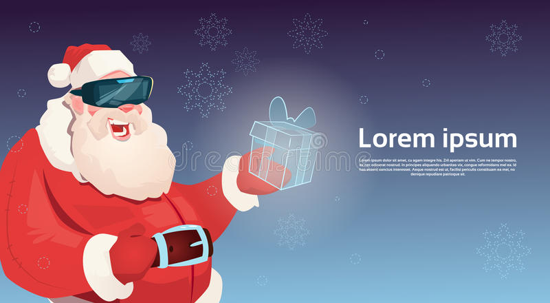 Santa Claus Wear Digital Glasses Hold Virtual Reality Present Box Merry Christmas Happy New Year vector illustration