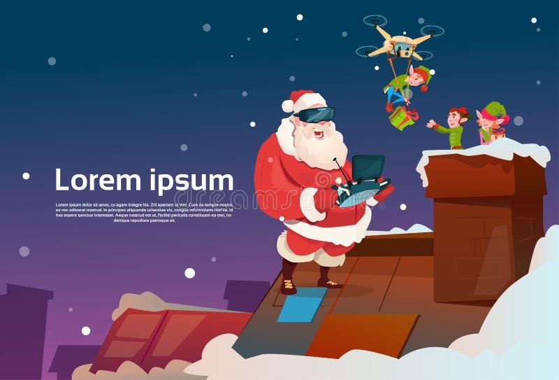 Santa Claus Wear Virtual Reality Glasses Elfs på taket, surrleveransgåva, julferie för nytt år stock illustrationer