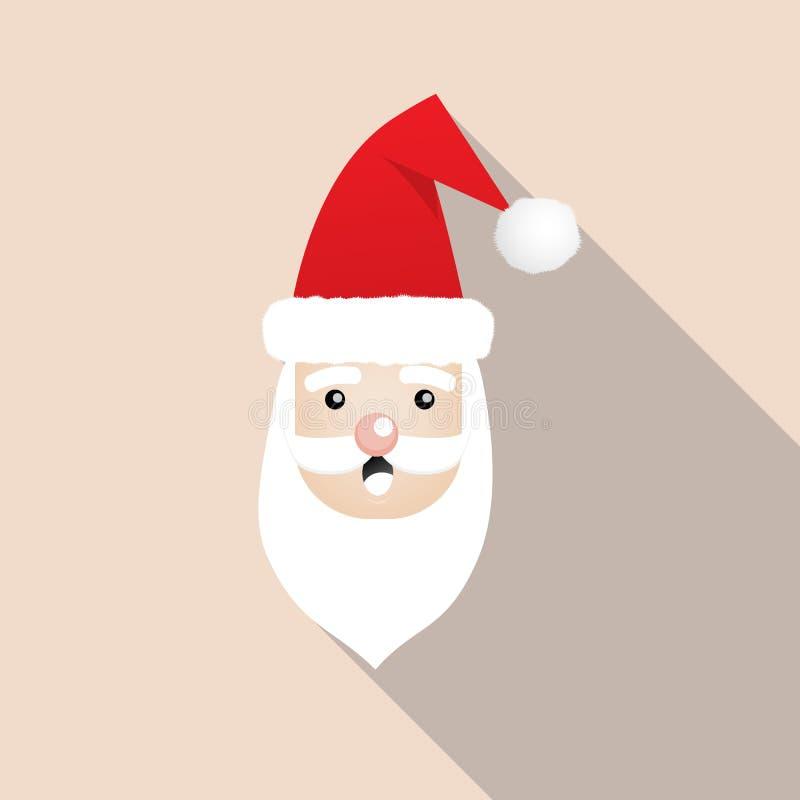 Santa Claus-Weihnachtsikone Flaches Design Santa Claus Face vektor abbildung