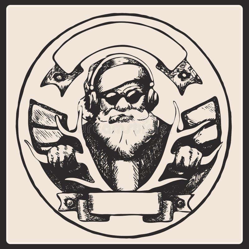 Santa Claus-Weinleseplakat Vektor lizenzfreie abbildung