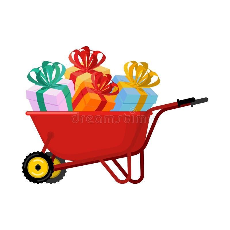 Santa Claus Wheelbarrow och gåvor Xmas grundar spårvagnen Christm stock illustrationer
