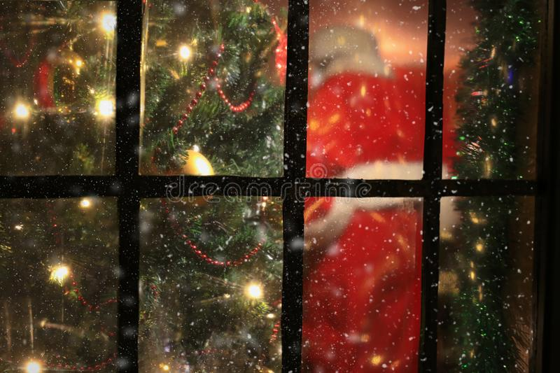 Santa claus from the window royalty free stock photos