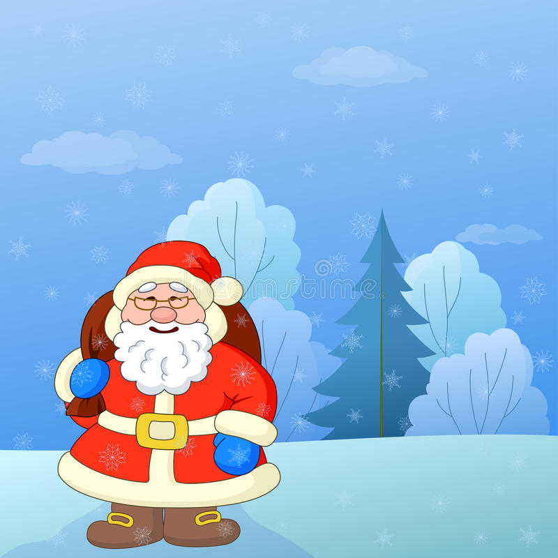 Santa Claus in a winter forest royalty free illustration
