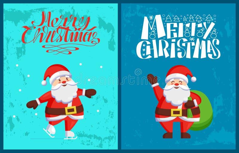 Santa Claus Winter Holidays Adventures Vetora ilustração royalty free