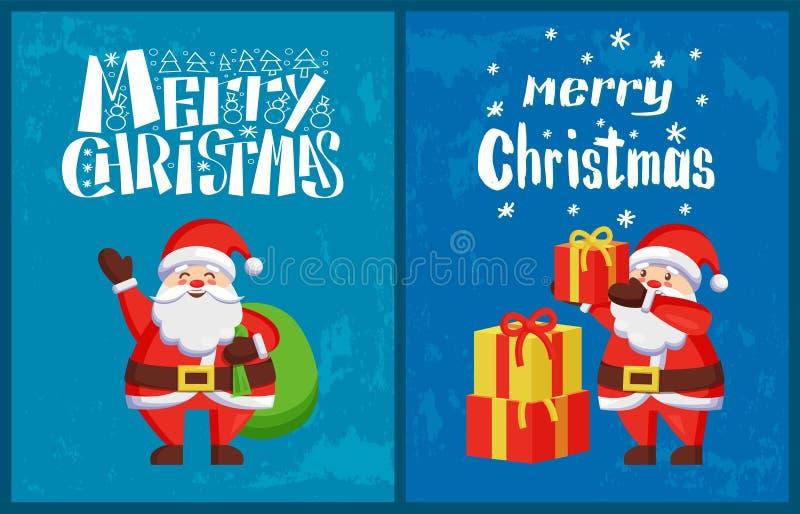 Santa Claus Winter Holidays Adventures Vetora ilustração stock