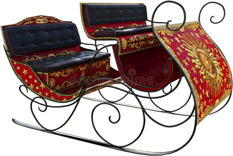 Santa Claus Winter Sleigh Isolated. Santa Claus winter sleigh. The holiday season horse drawn buggy is isolated on white. Christmas presents are delivered royalty free stock image