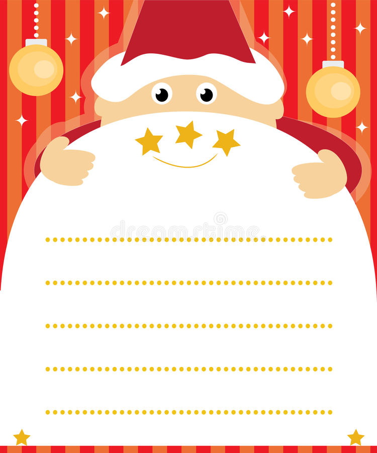 Santa claus wish list. Santa claus holding christmas wish list with copy space for your text vector illustration