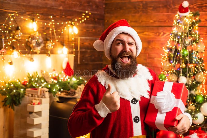 Santa Claus wishes Merry Christmas and Happy new year. Santa Claus wishes Merry Christmas and Happy new year royalty free stock images