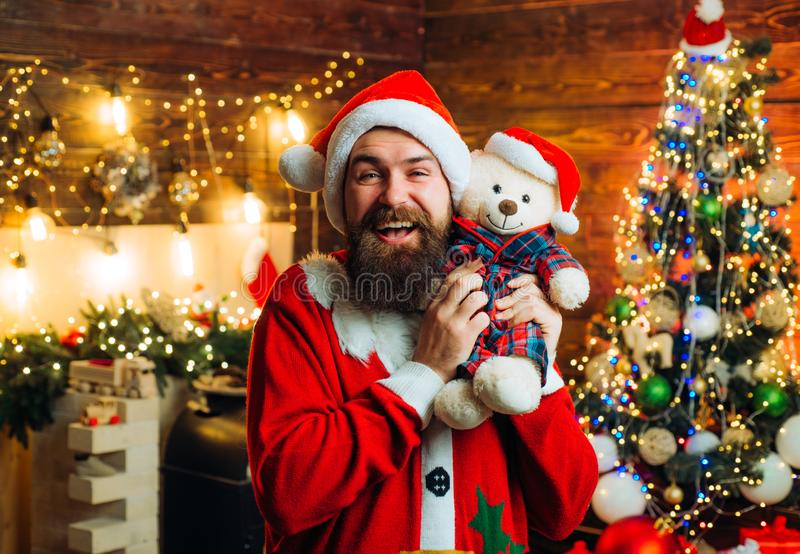 Santa Claus wishes Merry Christmas and Happy new year. Christmas people celebration New Year. Happy winter time. Santa Claus wishes Merry Christmas and Happy stock photo
