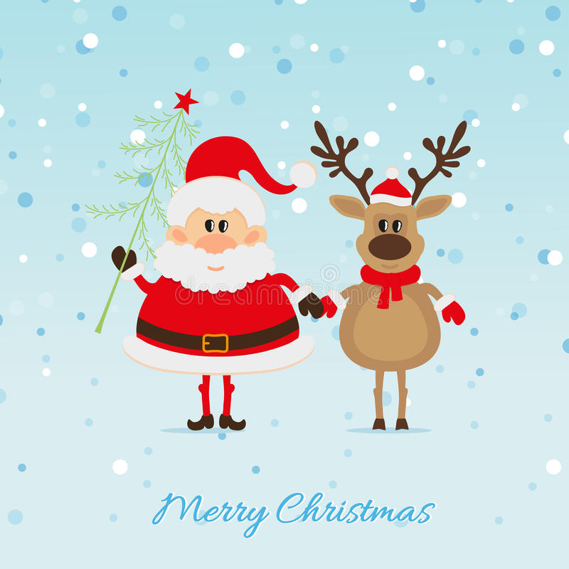 Free Santa Claus With Christmas Tree And Reindeer Royalty Free Stock Photo - 34302555
