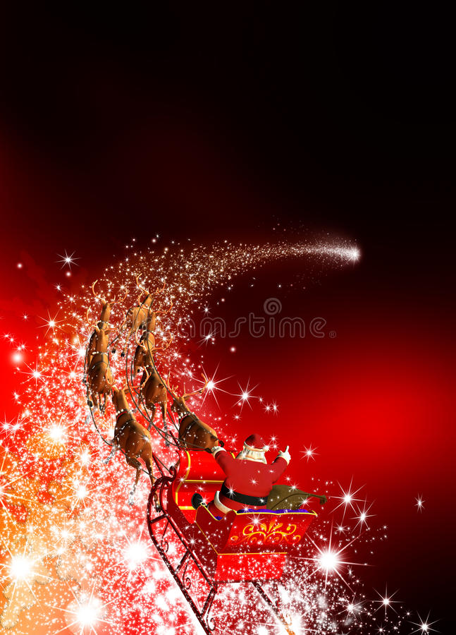 Free Santa Claus With Reindeer Sled Riding On A Falling Star Stock Photography - 60840242