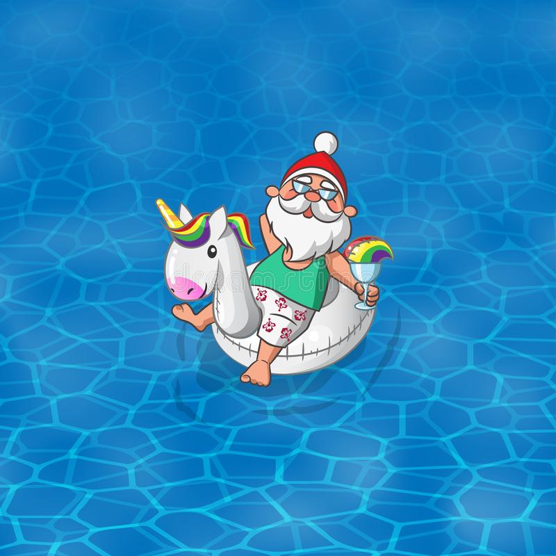Free Santa Claus With Unicorn Inflatable Float Sail Along The Sea Ocean Or Pool Stock Photos - 117836173