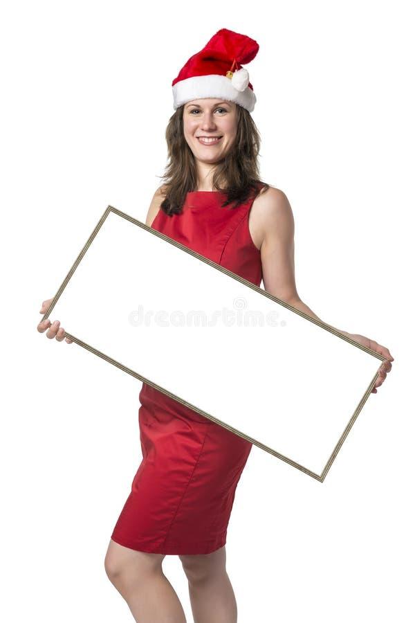 Santa Claus Woman com placa imagem de stock