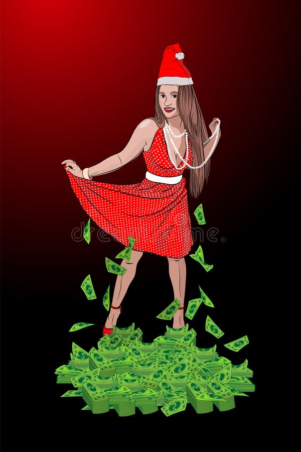 Santa Claus woman. A lot of money. New stock image