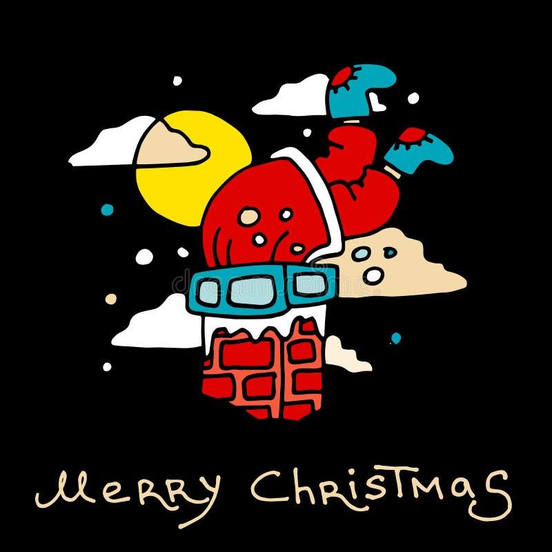 Santa Claus wordt geplakt met stelt in de schoorsteen die voor De prentbriefkaar van Kerstmis royalty-vrije illustratie