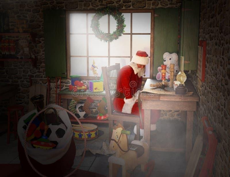 Santa Claus Workshop, Toyshop, Polo Norte ilustração royalty free