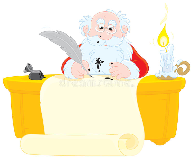 Santa Claus Writes Stock Image