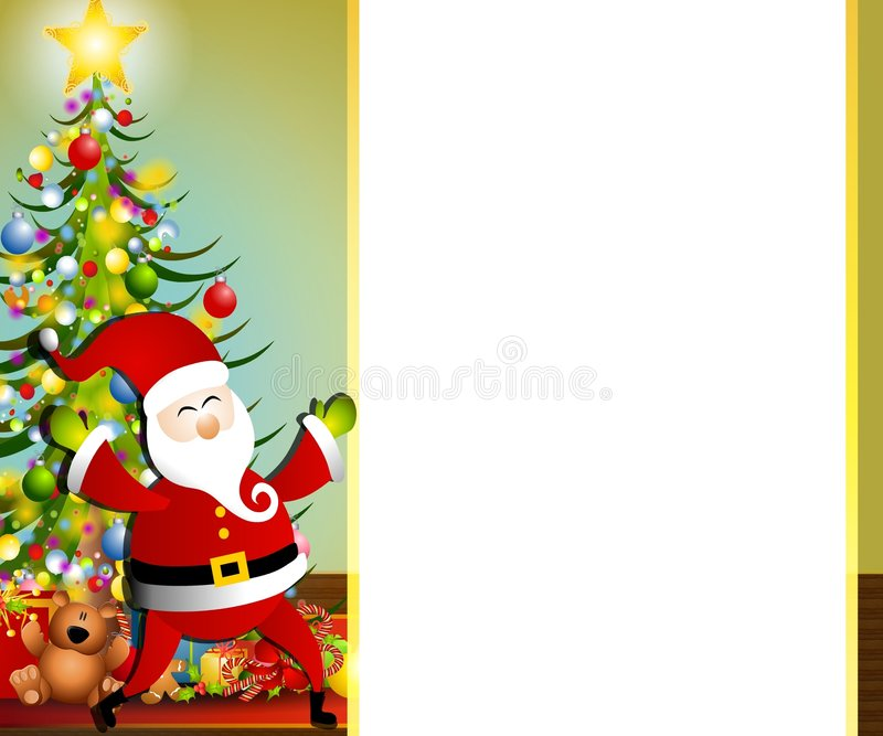 Santa Claus Xmas Border 2. An illustration featuring Santa Claus with border, tree and presents stock illustration