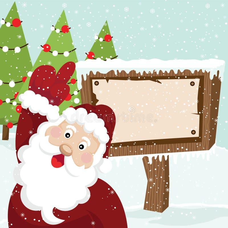 Santa Claus y cartelera stock de ilustración