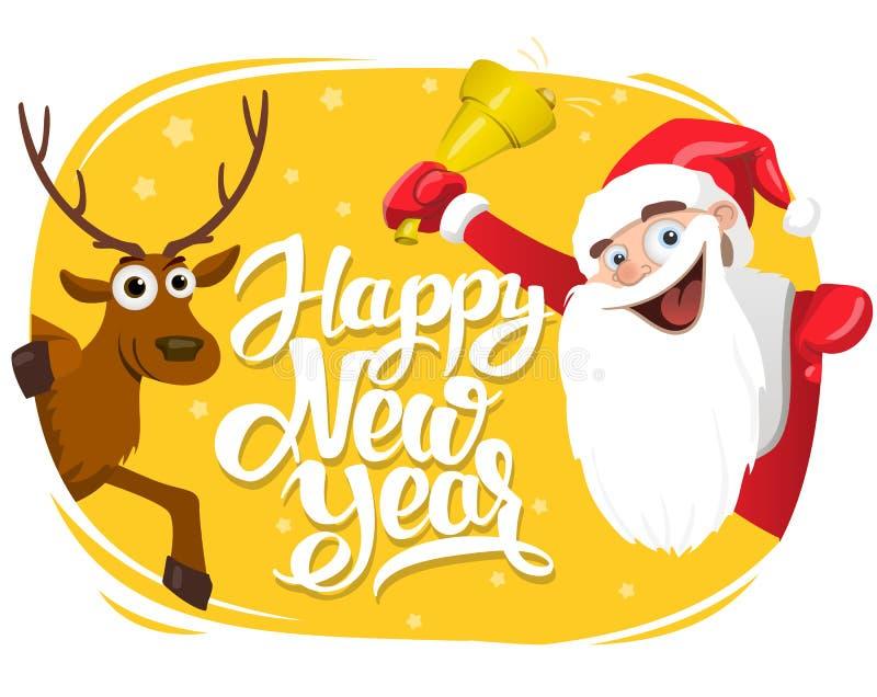 Santa Claus y ciervos, tarjeta de letras de la Feliz Año Nuevo, 2017 ilustración del vector