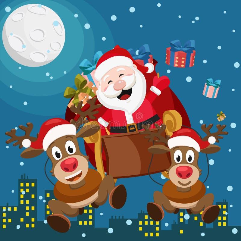 Santa Claus y dos ciervos están volando en un trineo con los regalos sobre la ciudad de la noche stock de ilustración