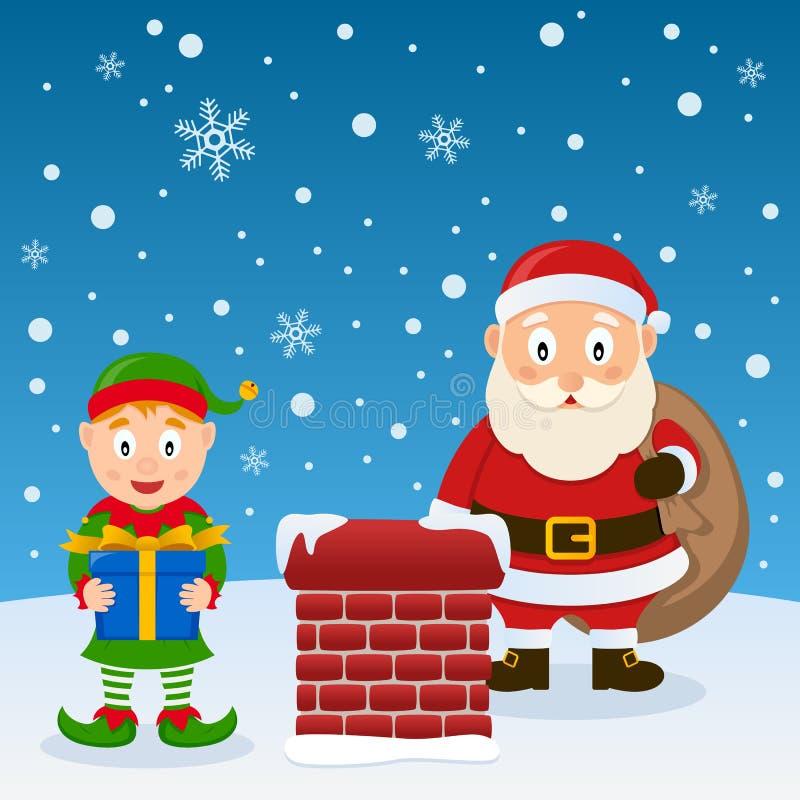Santa Claus y duende de la Navidad en un tejado ilustración del vector